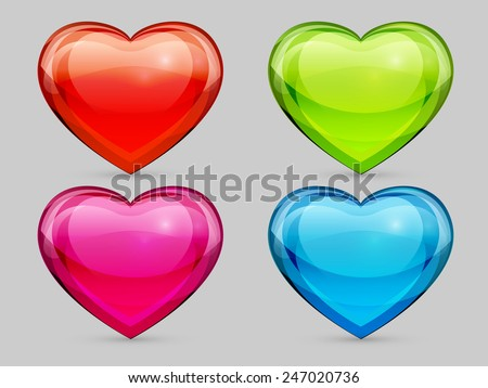 set of glass hearts