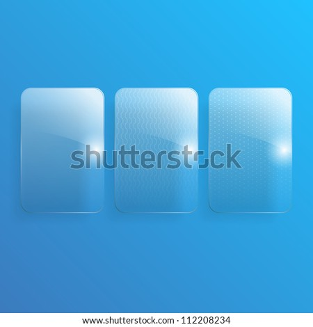 Set of 3 glass illustrations. Any image can be used for the background.