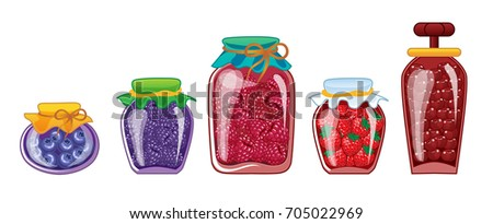 set of glass jars with
