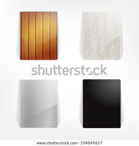 Set of glass labels with natural texture