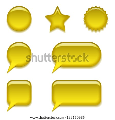 Set of glass yellow buttons, computer icons of different forms for web design, isolated on white background. Vector eps10, contains transparencies