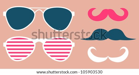Set of glasses and mustaches