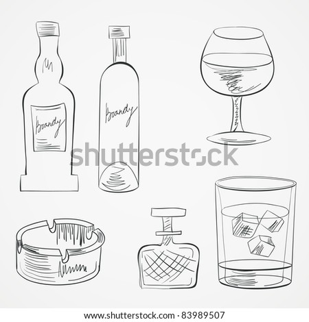 Set of glasses and whiskey bottles