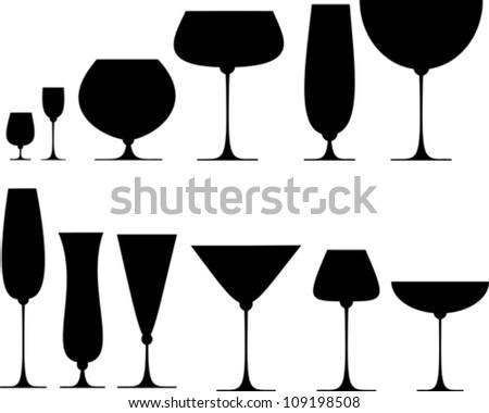 Set of glasses for alcoholic drinks. Vector Illustration