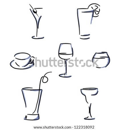 Set of glasses (vector)