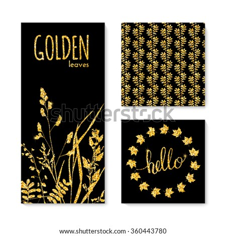 Set of glitter golden leaves banner, frame and background. Vector illustration for your design #360443780
