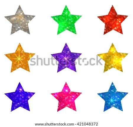 set of glittering stars on