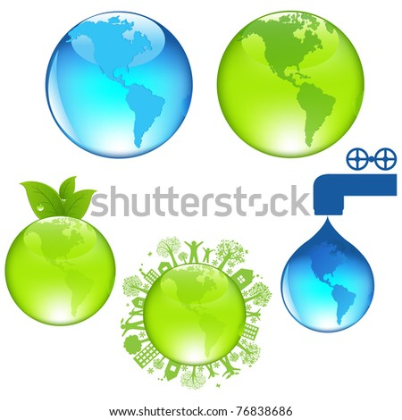 Set Of Globe, Isolated On White Background, Vector Illustration
