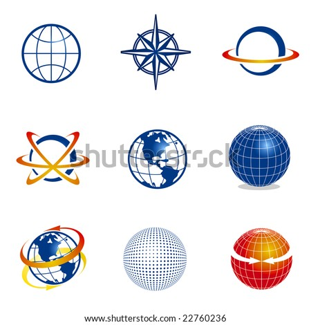 Set of globe/navigation icons