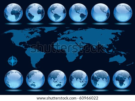 Set of 12 globes showing earth rotation in every two hours period - stock vector