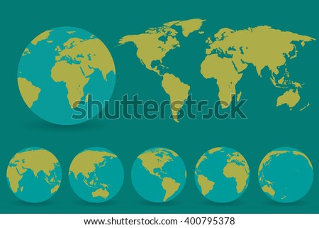 set of globes with different...