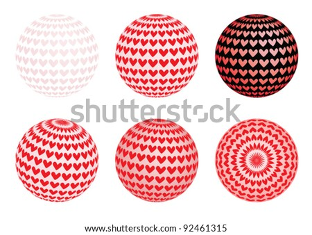 set of globes with valentines vector illustration