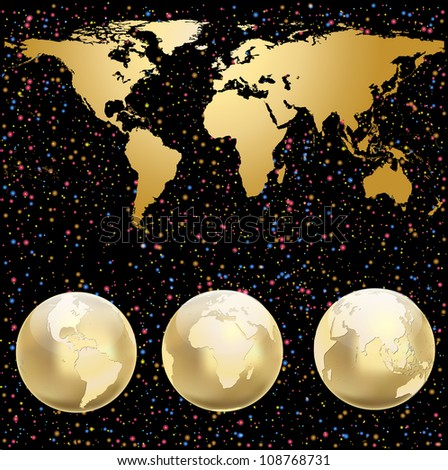 Set of 3 globes with world map