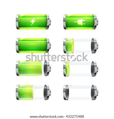 set of glossy battery icons