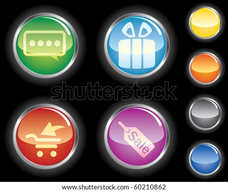 Set of glossy buttons on black