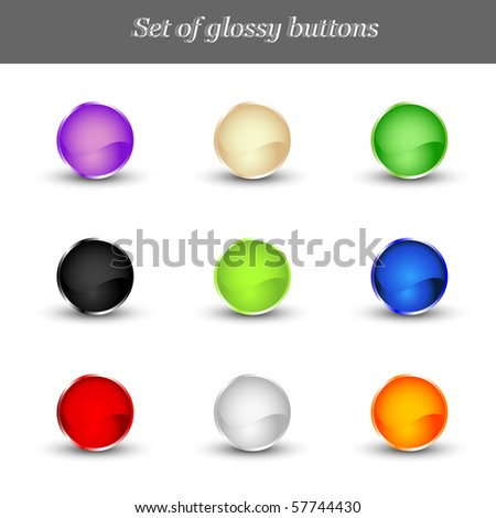 Set of glossy buttons. Vector illustration