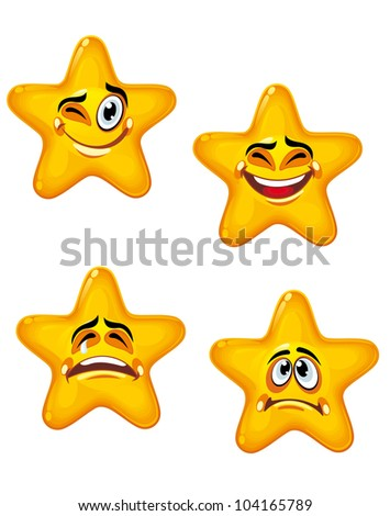 Set of glossy cartoon stars with different emotions, such logo. Jpeg version also available in gallery