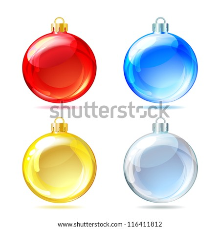 Set of Glossy Christmas balls on white background. Vector illustration.