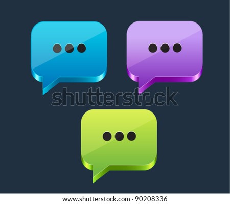 Set of glossy clolorful dialog speech bubbles