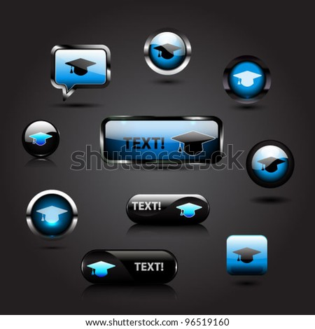 Set of glossy graduation cap icons