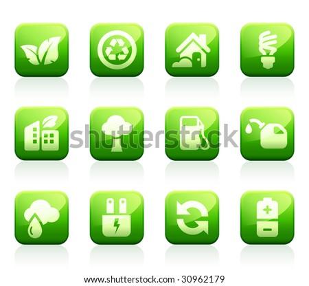 Set of 12 glossy green environmental icons