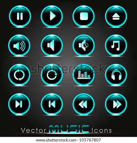 Set of glossy music web icons in green color on shiny black background. EPS 10. Vector illustration.