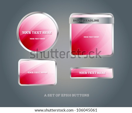 Set of glossy pink vector badges and buttons