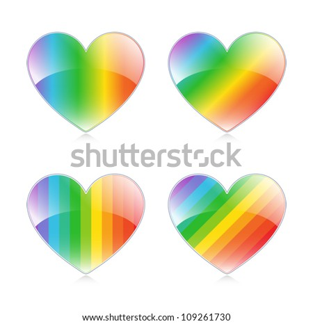 Set of 4 glossy rainbow hearts. Eps 10 Vector.