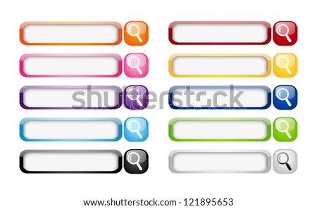Set of glossy search buttons