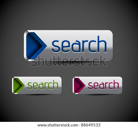 Set of glossy search icon, three multi color isolated on white background