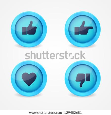 set of glossy social vector