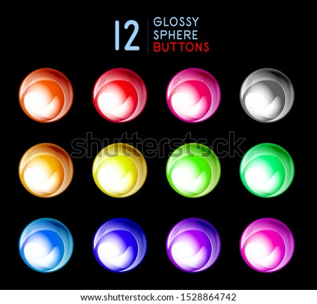 Set of glossy sphere buttons, glass shiny circles