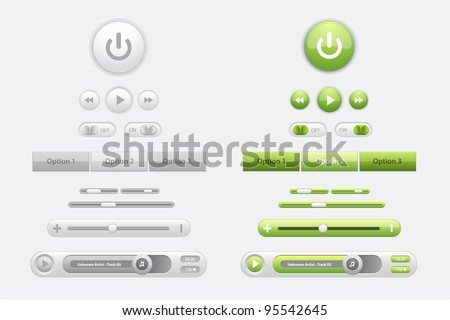 Set of glossy vector web elements and media players in two colors green and gray