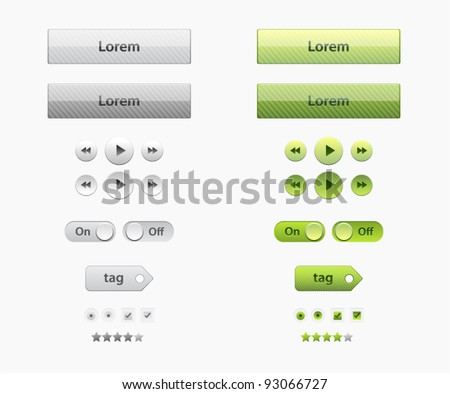 Set of glossy vector web elements in two colors green and gray