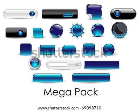 Set of glossy web buttons-Vector