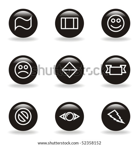 Set of 9 glossy web icons (set 8). Black circle with reflection and shadow.