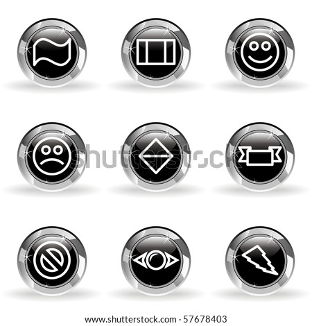 Set of 9 glossy web icons (set 8). Black circle with star reflection and shadow.