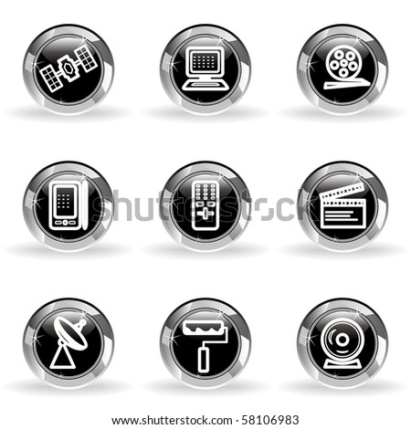 Set of 9 glossy web icons (set 35). Black circle with star reflection and shadow.