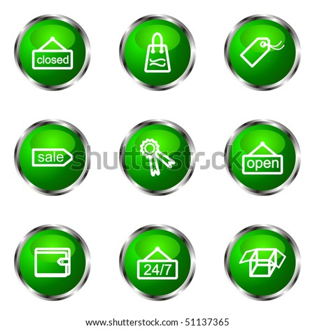 Set of 9 glossy web icons (set 9). Green color.