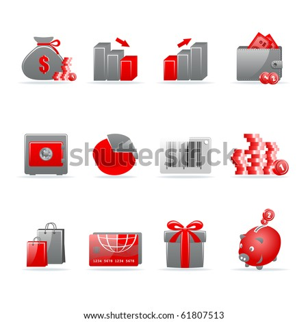 Set of 12 glossy web icons. Shopping, business and money icon set. Part 4. (see other in my portfolio).