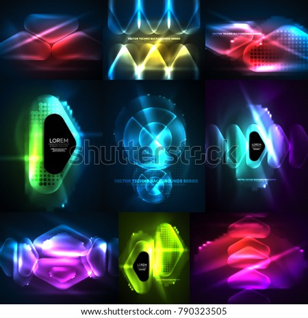 Set of glowing abstract shapes neon shiny hi-tech abstract backgrounds. Vector light effects templates