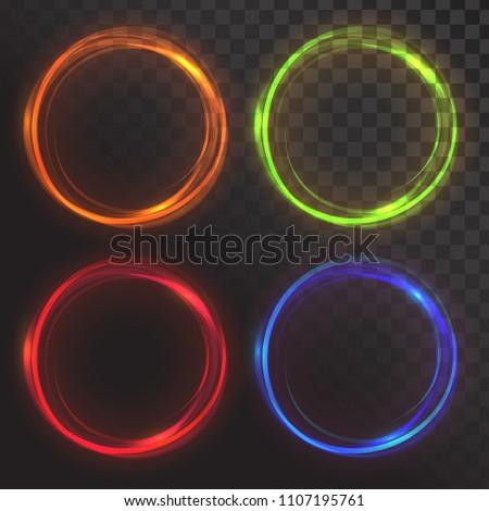 Set of glowing circles. Round frames