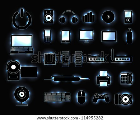 Set of glowing electronic media device icons with trendy sparkles. EPS10 vector.