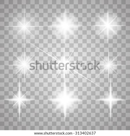 set of glowing light stars with