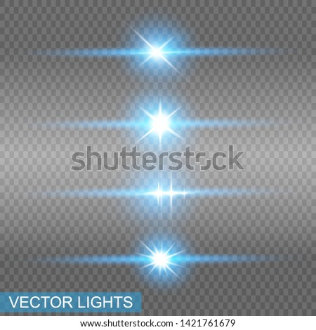 Set of glowing lights effects isolated on blue background. Sun flash with rays and spotlight. Glow light effect. Star burst with sparkles.