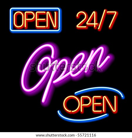 Set of glowing neon OPEN signs. Vector. - stock vector