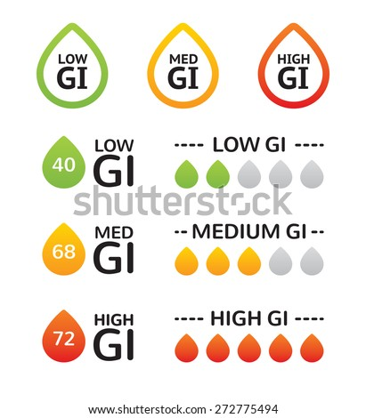 Set of glycemic index (GI) food labels. EPS 10. CMYK