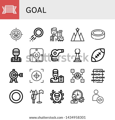 Set of goal icons such as Pride, Target, Puck, Football player, Strategy, Referee, Focus, Whistle, Pawn, Rugby, Crosshair, Coach, Skill, Foosball, Goals, Hockey, Time management , goal