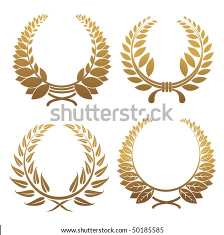 Set of gold and black laurel wreaths. Jpeg version also available in gallery