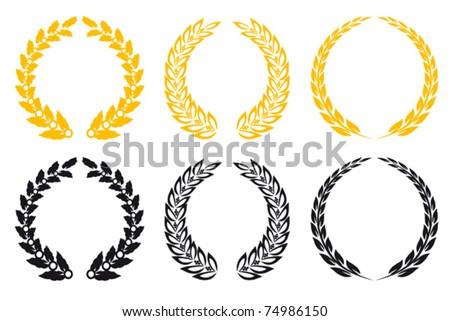 Set of gold and black laurel wreaths. Jpeg version also available in gallery - stock vector